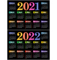 calendar for 2021 and 2022 vector image
