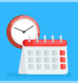 calendar icon with clock time planning managment vector image vector image