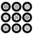 Car wheels with tires vector image vector image