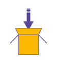 cardboard box with arrow icon vector image
