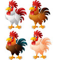 cartoon funny rooster collection set vector image vector image