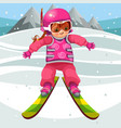 cartoon girl skiing on hill in suit on holiday vector image