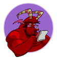 Cartoon red horned demon reads vector image vector image