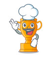 chef cartoon trophy cup with star on cyan vector image