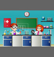 childrens doing experiment in the lab vector image vector image