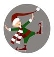 Christamas happy elf skating vector image vector image