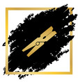 clothes peg sign golden icon at black vector image