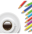 coffee cup and pencils vector image