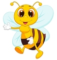 Cute bee cartoon waving vector image vector image