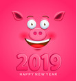 cute greeting card for 2019 new year with pig face vector image vector image