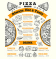 design template for pizzeria menu vector image vector image