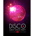 disco party flyer templatr with mirror ball stage vector image vector image