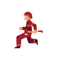 fireman in protective uniform and helmet runs vector image vector image