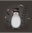 gift postcard with cartoon animal penguin in the vector image