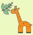 giraffe cartoon style art for kids vector image
