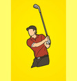 golf player golfer action cartoon sport graphic vector image