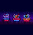 halloween neon signs set design template vector image