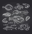 hand drawn seafood elements on black vector image