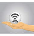 Hand holding a free wifi ball vector image vector image