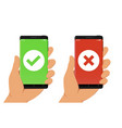 hand holding smartphone with green checkmark vector image vector image
