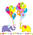 Happy Birthday invitation with cartoon elephants vector image