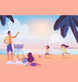 happy family enjoying barbeque party on beach vector image vector image
