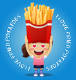 happy woman carrying big fried potatoes vector image vector image