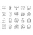 hvac charcoal draw line icons set vector image vector image