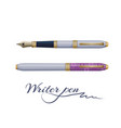 ink fountain writer pen isolated on white vector image vector image