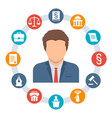 lawyer law concept icons vector image