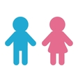 Man and Woman icon Blue pink Restroom symbol vector image