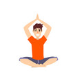 man sitting in lotus pose with arms raised above vector image vector image
