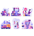 mobile and digital shopping ad scenes in flat vector image