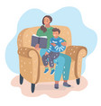 mother reading book with her son on the chair vector image