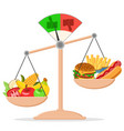 outweighed on the scales of fruits and vegetables vector image vector image