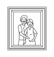 pregnant couple avatar photo frame black and white vector image vector image