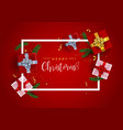 red christmas frame card with realistic gifts vector image vector image