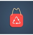 red recycle shopping bag with shadow vector image vector image
