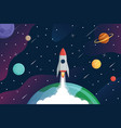 rocket fly to galaxyexploring space background vector image vector image