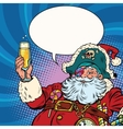 Santa Claus pirate champagne toast vector image vector image