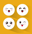 set kawaii emoticons expression vector image vector image