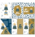 set of modern happy birthday greeting cards design vector image vector image