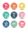 shopping cart icons with pointer arrow symbols vector image vector image
