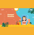summer vacation landing page layout vector image