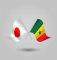two crossed japanese and senegalese flags vector image vector image