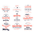 valentines day cards collection typography vector image vector image