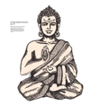 vintage with buddha in meditation vector image vector image