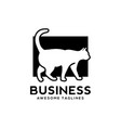 white cat with black background logo vector image vector image