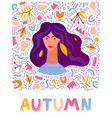 woman autumn hand drawn leaves vector image vector image