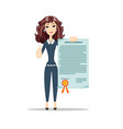 woman with a certificate vector image vector image